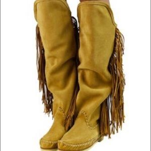 Shoes - Handmade boots/ moccasins fringe Indian